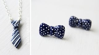getlinkyoutube.com-DIY: Bowtie Earrings & Tie Necklace Polymer Clay Tutorial