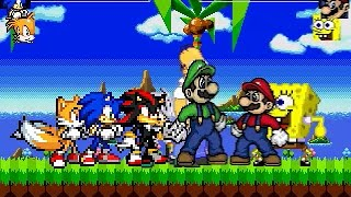 getlinkyoutube.com-MUGEN SONIC AND TAILS AND SHADOW AND SILVER VS SUPER MARIO AND SPONGE BOB AND SUPER LUIGI AND HOMER