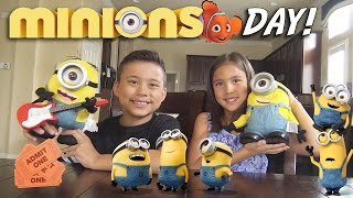 getlinkyoutube.com-MINIONS DAY! Surprise TOY Unboxing, Movie Theater, McDonald's Happy Meal Toys!