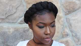 getlinkyoutube.com-TUTORIAL| Easy How To- Halo/Crown Braid on Natural Hair