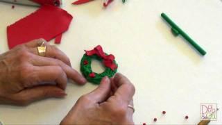 getlinkyoutube.com-Polymer Clay - How to make a Christmas Wreath