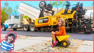 Construction Trucks for Children | Dump Truck, Steam Roller and Asphalt Paver Making a Road