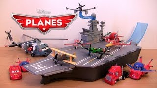 getlinkyoutube.com-Disney Planes Yorkie Aircraft Carrier Playset Stores 6 planes | Cars Mack Truck Lightning McQueen