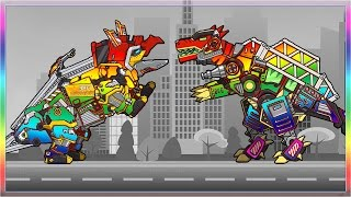getlinkyoutube.com-Dino Robot Spinosaurus & Triceratops Rainbow Color Transformation - Full Game Play - 1080 HD