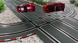 getlinkyoutube.com-Kick 'em out! Heavy crash scenes on a four lane Carrera GO!!! track.