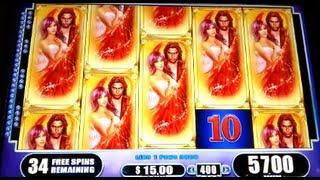 getlinkyoutube.com-Fallen Angels JACKPOT Handpay Max Bet Bonus + Retriggers WMS Slot Machine