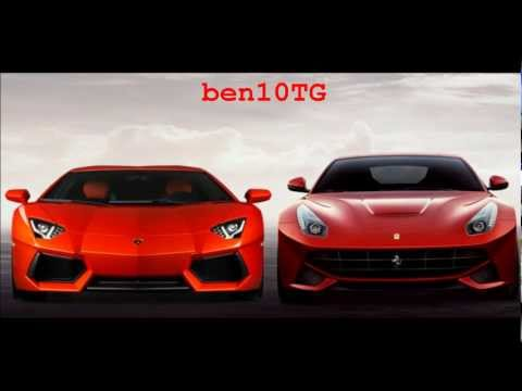 2013 New Ferrari F12 Berlinetta 750bhp Vs. 2011 Lamborghini Aventador 700bhp Supercar Battle 720p