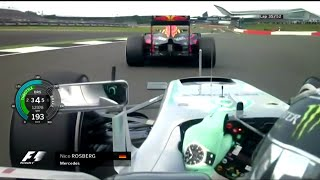 Rosberg chases and overtakes Verstappen onboard   F1 - 2016 - Silverstone