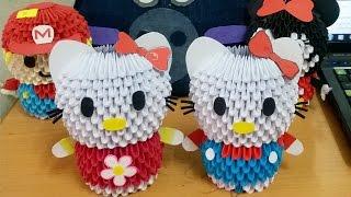 getlinkyoutube.com-Tutorial Hello Kitty 3D Origami - Hướng dẫn xếp Hello Kitty Origami 3D