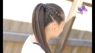 getlinkyoutube.com-Cola con Trenzas - Accented Ponytail | Peinados con Trenzas | Peinados para el Colegio | Chikas Chic