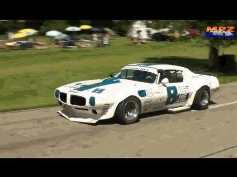Mighty 700hp Pontiac TRANS AM at the Hillclimb Reitnau Bergrennen - Great V8 Sound!!