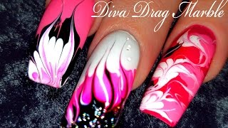 getlinkyoutube.com-No Water Needed - Pink Diva DIY Drag Marble nail art Tutorial