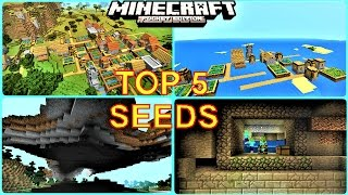 Minecraft PE - TOP 5 SEEDS ! SUPER RARE VILLAGES, STRONGHOLDS, DUNGEONS & MORE ! - MCPE 1.0.5