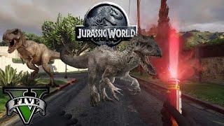 getlinkyoutube.com-GTA V Jurassic World - T-Rex Attack
