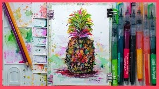 getlinkyoutube.com-Pineapple in Marker & Colored Pencil Real-Time sketch! Fast & Fun!
