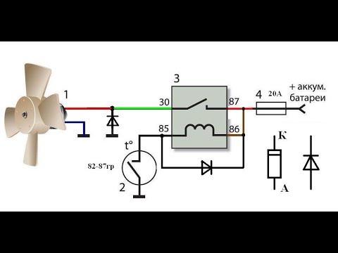 Схема включения электро вентилятора охлаждения радиатора автомобиля. Ч.2