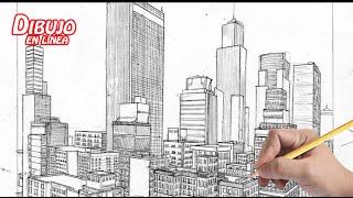 getlinkyoutube.com-dibuja una ciudad a 2 puntos de fuga (explicado)