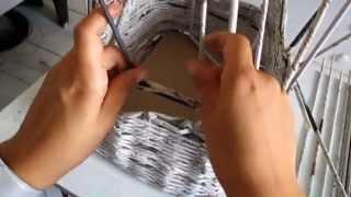 getlinkyoutube.com-instrukcja jak zrobić koszyk na zabawki z papieru ? Wiklina papierowa krok po kroku Panorama LeSage