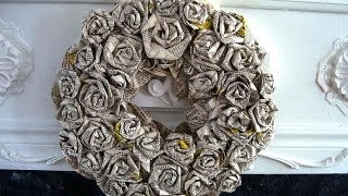 getlinkyoutube.com-HOW TO DIY ROLLED PAPER ROSES WREATH, newsprint, book pages, paper crafts