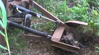 getlinkyoutube.com-Tractor PTO stump grinder (home made)