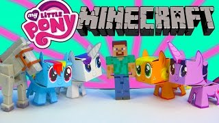 getlinkyoutube.com-My Little Pony Boxos Paper Craft Style Minecraft Figures Steve Horse MLP Toy Unboxing Review