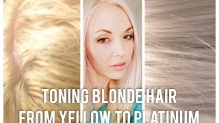 getlinkyoutube.com-DIY • Toning bleached Blonde hair from brassy to platinum at home yellow orange grey silver white