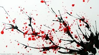 getlinkyoutube.com-How to Paint a Cherry Blossom Tree in Watercolor - Splatter and Blowing Painting Techniques