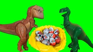 getlinkyoutube.com-Butch vs T-Rex Opening Unboxing 10 Surprise Kinder Eggs! Disney Toy Story vs The Good Dinosaur!