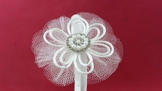 getlinkyoutube.com-Passo a passo: Tiara com flor de tule e fio de seda