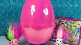 getlinkyoutube.com-Big Pink Surprise Blind Bag Egg Shopkins Frozen Moshi Monsters Choco Egg Unboxing