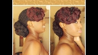 getlinkyoutube.com-How I Style My Senegalese Twists & Box Braids: EASY! Elegant Low Bun w/ Bangs
