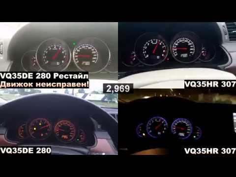 Infiniti M35 (сравнение разгона разных двигателей, VQ35DE, VQ35HR)