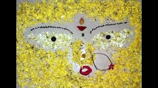 Flower Rangoli #3   Durga devi Face rangoli    Navratri and Dushera special Rangoli(New)