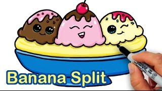 getlinkyoutube.com-How to Draw a Yummy, Cute Banana Split Ice Cream Sundae