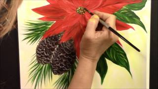 getlinkyoutube.com-How to paint easy Poinsettia and Pine Cones ~ Acrylic ~ Painting with Wendy