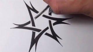 getlinkyoutube.com-Drawing a Tribal Star of David Tattoo Design - Quick Sketch