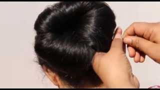 getlinkyoutube.com-How To Do High Bun On Saree:Bridal Hair Style(Simple Hair Do)Cute Wedding High Bun