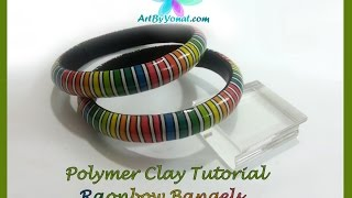 getlinkyoutube.com-Polymer Clay Tutorial - Rainbow Bangels - Lesson #26