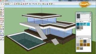 getlinkyoutube.com-#1 - Modern house design in free Google SketchUp 8 - how to build a modern house in SketchUp