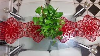 getlinkyoutube.com-🌺flor para Camino de mesa en crochet(#2) mejorado