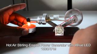 getlinkyoutube.com-Hot Air Stirling-Engine Electricity Power Generator with 4Blue LED 1500RPM Education/Teaching 2014
