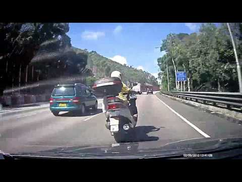 Amazing Crash Accident Of Car And Scooter On Highway, Hong Kong