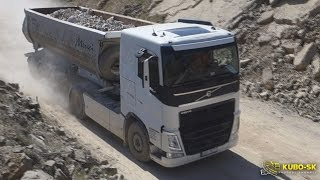 getlinkyoutube.com-Volvo FH 500 with tipper semitrailer - driving at the quarry