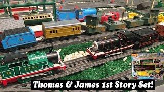getlinkyoutube.com-Thomas and Friends Toy Train Set-Plarail Trackmaster Green Thomas & Black James Set!
