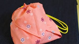 getlinkyoutube.com-バンダナ2枚で巾着袋を作る方法/How to make easily DRAWSTRING BAG 針や糸は使いません