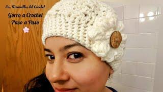 getlinkyoutube.com-🌸Gorro con Flor en Crochet(ganchillo)Para Niña y Mujer
