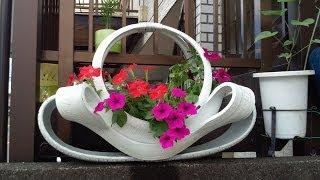 getlinkyoutube.com-Arte em Pneus, vasos ornamentais para flores, enfe