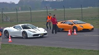 getlinkyoutube.com-Ferrari 458 Speciale vs Murciélago LP670-4 SV vs 991 Turbo vs McLaren 12C