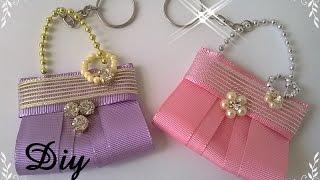 Chaveiro bolsinha de fita   \  Keychain pouch ribbon
