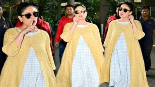 getlinkyoutube.com-Kareena Kapoor Hot In Blue And White Checkered Maxi At Airport